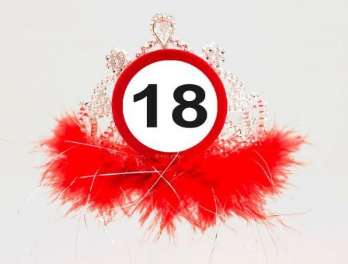 Traffic Sign 18th Party Tiara With Feathers Birthday Novelty Gift Crown Favor